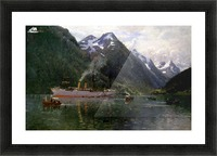 Ship along the fjord Picture Frame print