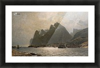 Fjord landscape with ships and figures Picture Frame print