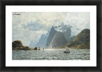Fishing vessels on a Norwegian fjord Picture Frame print