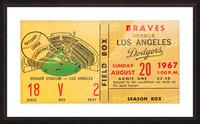 1967 LA Dodgers vs. Atlanta Braves Baseball Ticket Canvas Picture Frame print