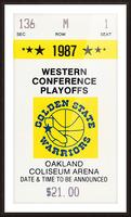 1987 golden state warriors nba basketball ticket art oakland coliseum Picture Frame print