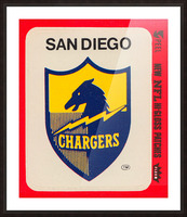1981 fleer nfl high gloss patch san diego chargers sticker reproduction poster Picture Frame print