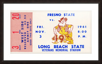 1961 long beach state fresno state football ticket art Picture Frame print