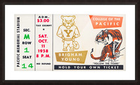 1958 college of the pacific brigham young football ticket art Picture Frame print