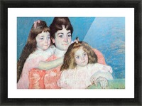 Madame A.F. Aude with her two daughters by Cassatt Picture Frame print