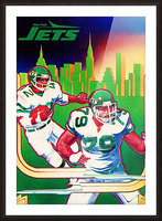 1981 new york jets nyc cityscape football poster Picture Frame print