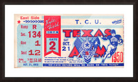 1950 texas am aggies tcu football ticket stub art kyle field college station Picture Frame print