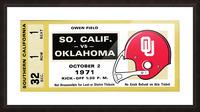 1971 usc trojans oklahoma sooners owen field norman ok football ticket wall art Picture Frame print