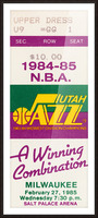 1984 utah jazz milwaukee bucks salt palace arena ticket art Picture Frame print