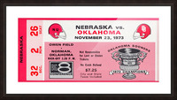 1973 oklahoma sooners nebraska cornhuskers owen field norman college football ticket art Picture Frame print