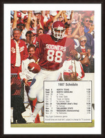 1987 oklahoma sooners football schedule poster Picture Frame print