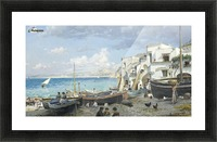 Italian coast with mountains seen in the background Picture Frame print