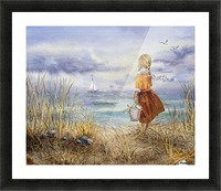 Girl And The Ocean Picture Frame print