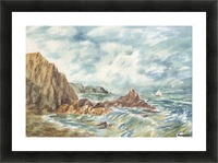 Vintage Storm At Rocky Shore Picture Frame print