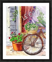 French Cafe And Bicycle With Basket Picture Frame print