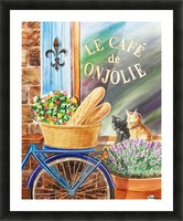 Bicycle With Basket At The Cafe Window Picture Frame print