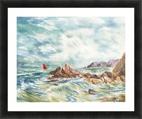 Red Sails At The Shore Picture Frame print