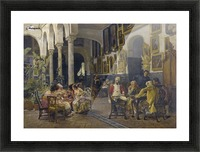 Conversation in a Sevillian courtyard Picture Frame print