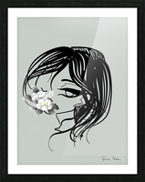 doodle with watercolor flower Picture Frame print