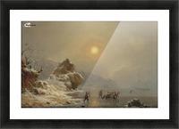 Eine Winterlandschaft mit Jagern auf dem Eis Picture Frame print