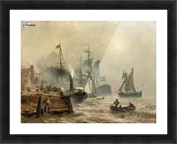 Boats in fog Picture Frame print