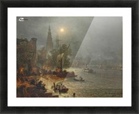 The harbor in the night Picture Frame print