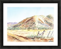 Landscape With Mountains Ranch And Cows Picture Frame print