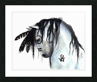 Grey Horse Picture Frame print