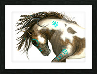Pinto Horse Turquoise  Picture Frame print