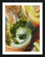 Fall Vortex Of Green Yellow Orange And Brown Abstract Watercolor  Picture Frame print