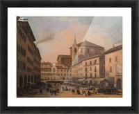 Piazza della Vittoria a Pavia olio su tela Picture Frame print