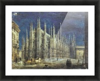 Night view of Piazza del Duomo in Milan Picture Frame print