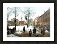 Veduta della Piazza Borromeo in Milano con neve cadente Picture Frame print