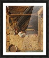 Peter Christian Skovgaard appuye contre un muret dans une etable, 1843 Picture Frame print