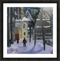 Montreal Downtown Scene, Drummond Winter Picture Frame print