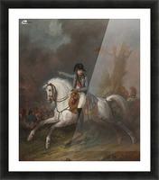 Un portrait equestre de l'empereur Napoleon avec une bataille au dela Picture Frame print