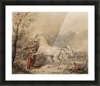 Oriental soldier and his horse Picture Frame print