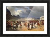 An Invalid Submitting a Petition to Napoleon at a Parade in the Courtyard of the Tuileries Palace 1838 Picture Frame print