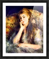 Portrait of a girl in thoughts by Renoir Picture Frame print