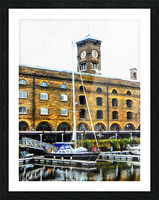 Boats in Front of Clock Tower St Katharine Docks Picture Frame print