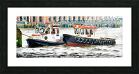 Two Boats Tied Up On The River Thames London Picture Frame print