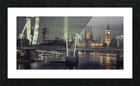 Night view of the London Eye, Golden Jubilee bridge and Westminster, London, UK Picture Frame print