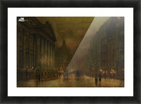 Moonlight in Victorian town Picture Frame print