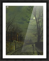A moonlit street after rain Picture Frame print