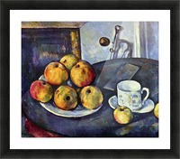 Still life with a bottle and apple cart by Cezanne Picture Frame print