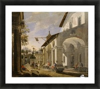 Courtyard of an Inn with Classical Ruins Picture Frame print