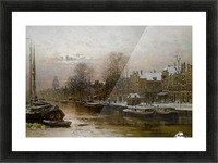 Snow covered barges Picture Frame print