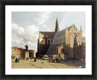 View of the Grote Markt, Haarlem, with numerous townsfolk strolling along the statue of Laurens Jansz Picture Frame print