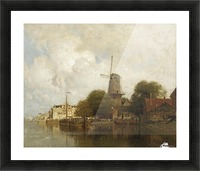 A windmill along the river Amstel, Amsterdam Picture Frame print