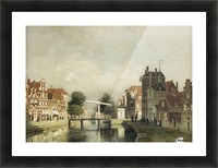 A sunlit canal with a draw-bridge Picture Frame print